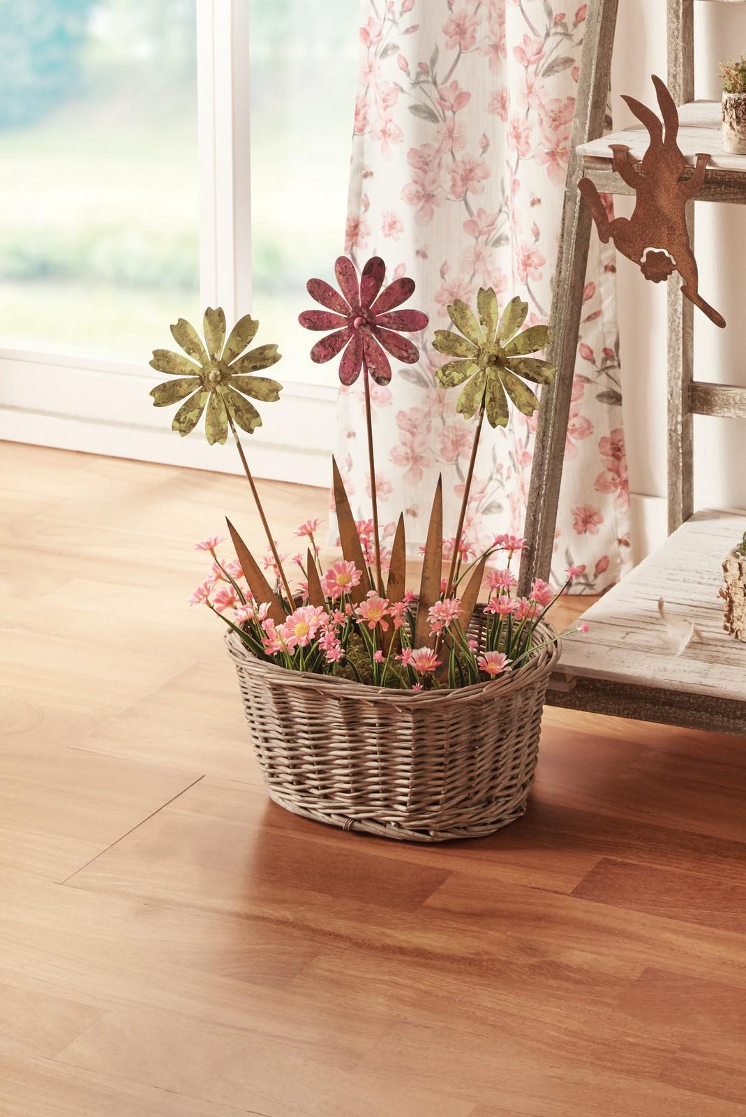 """75 cm hoch Solar Garten Stecker /""""Orchidee/"""" weiß Blumen Beet Deko Sticker"""