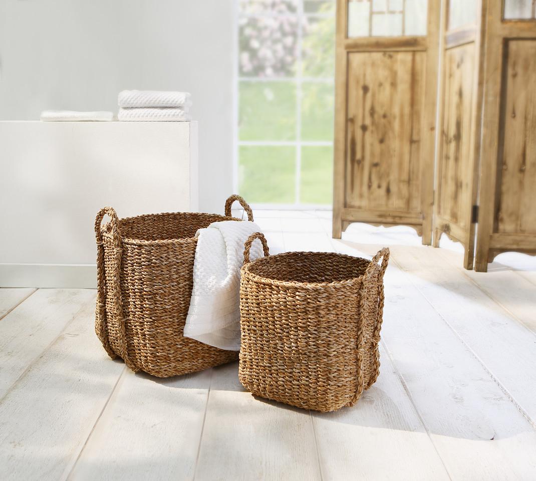 2 Universal Körbe aus Seegras Wäsche Korb Übertopf Aufbewahrungs Kiste Truhe Set