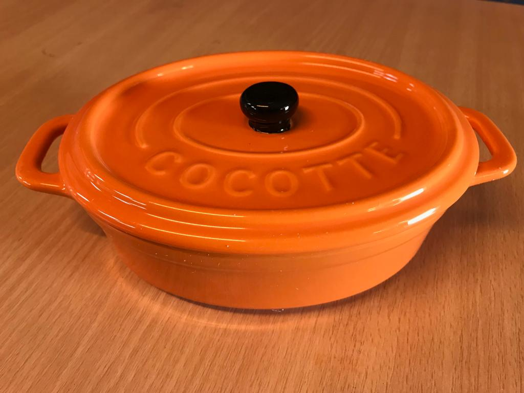 orange Bräter Cocotte Gar Topf Auflaufform mit Deckel Schmortopf aus Keramik