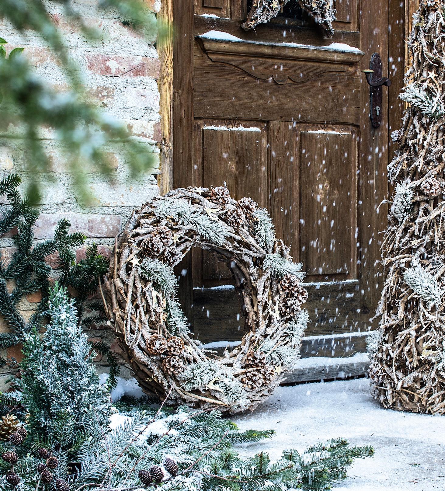 """Advents Weihnachts Tür Hänger Ø 70 cm Deko Kranz /""""Winterzauber/"""" aus Reben Holz"""