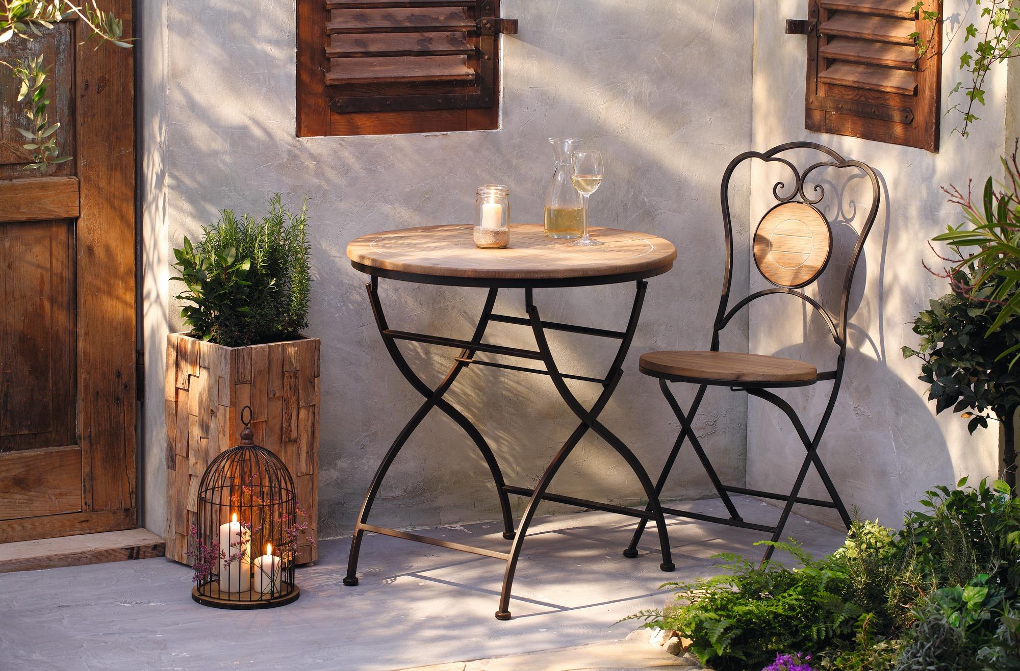 Klappstuhl holz antik  Garten Tisch aus Metall & Holz, Antik Design, Balkon Terrasse Klapp ...