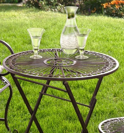 Gedeckter Tisch Im Garten: METALL KLAPPTISCH Provence Im ANTIK DESIGN NEU GARTEN