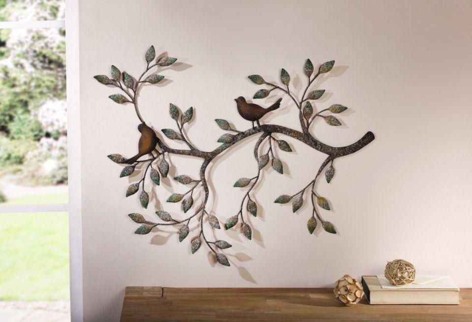 Metall Wanddeko Ast Mit Vögeln Wanddekoration Wandschmuck Wandbild