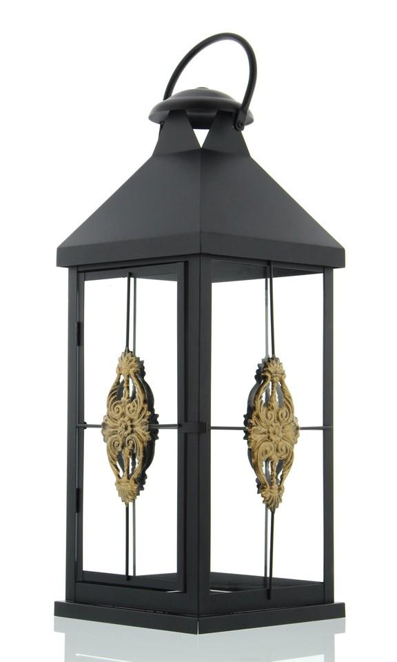 metall laterne ornament schwarz gro garten windlicht. Black Bedroom Furniture Sets. Home Design Ideas