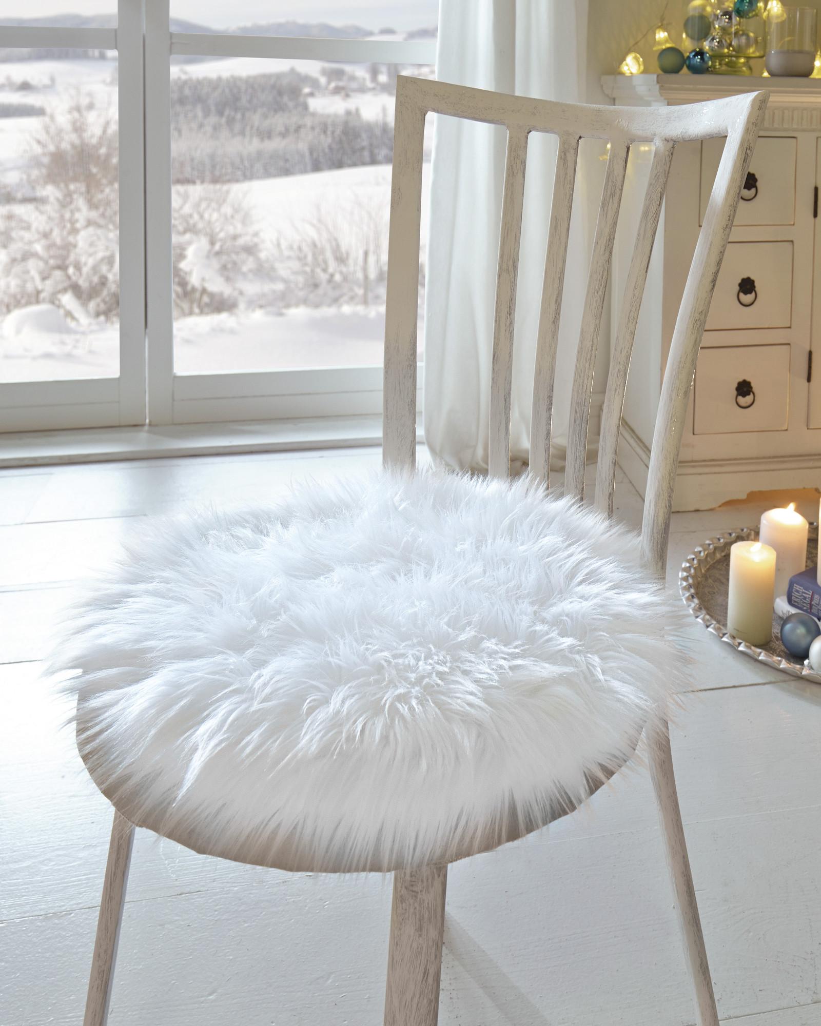 Sitz kissen felloptik in weiss 40 cm polster stuhl auflage fell deko ebay - Dekorieren mit fell ...