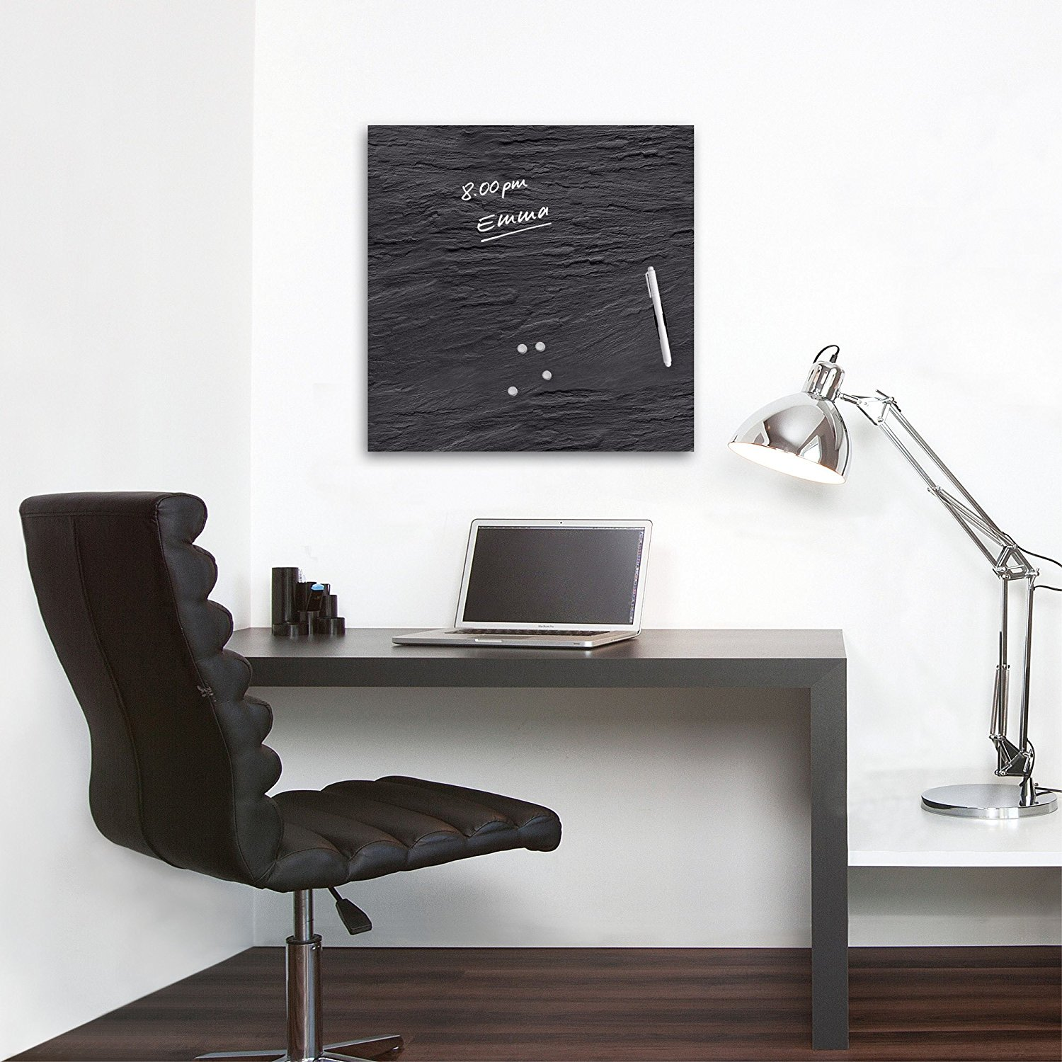 glas magnettafel 50x50 schiefer magnete stift memoboard magnetwand pinnwand ebay. Black Bedroom Furniture Sets. Home Design Ideas