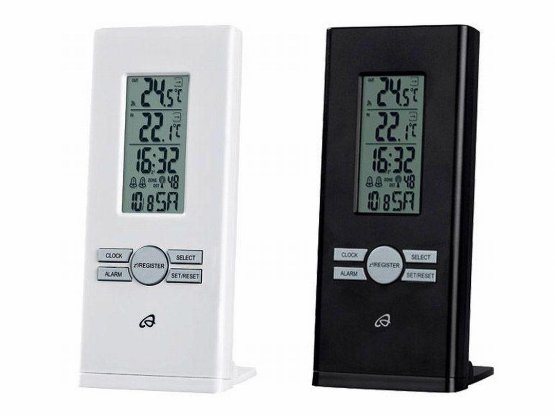 innen aussen funk thermometer wei funkuhr datum wecker ebay. Black Bedroom Furniture Sets. Home Design Ideas