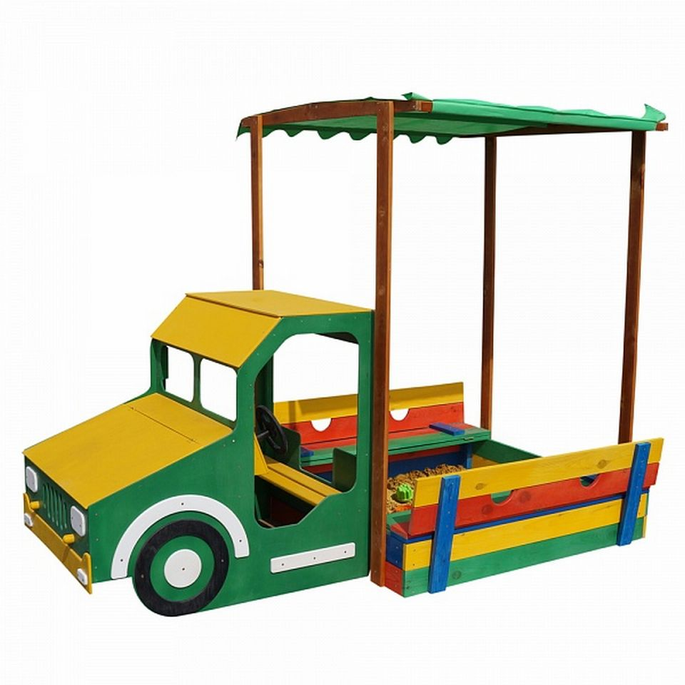 holz sandkasten sandtruck lkw mit dach sitzb nken deckel sand box kiste ebay. Black Bedroom Furniture Sets. Home Design Ideas